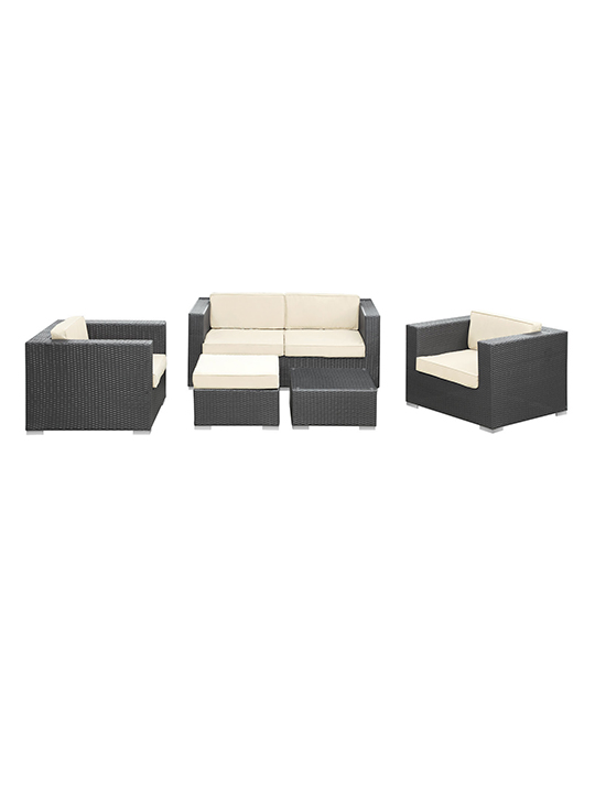 White Cushion Cayman Espresso 5 Piece Outdoor Set1