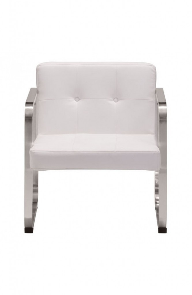 21st Century Chair White Leather 3