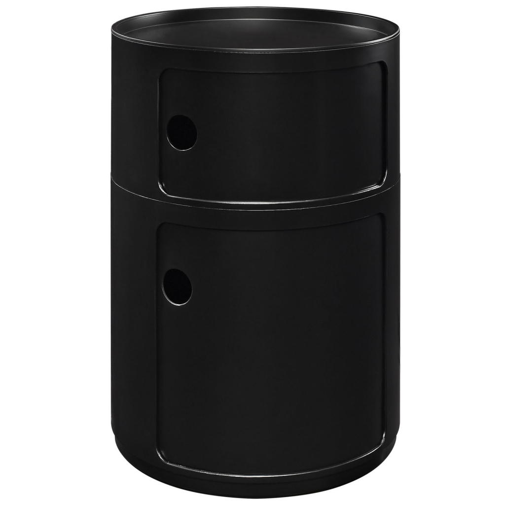 Black Circular 2 Storage Table 3
