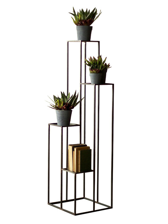 Black Iron Multilevel Pedestal Table