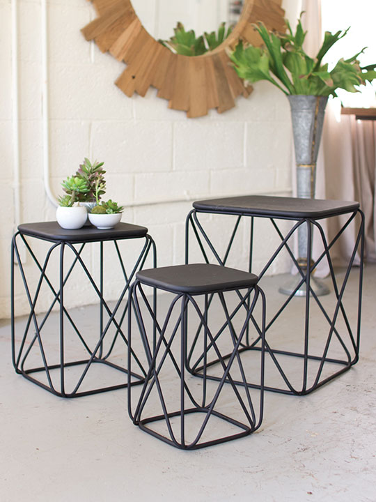 Black Metal Wire Table 3 Set Brickell Collection