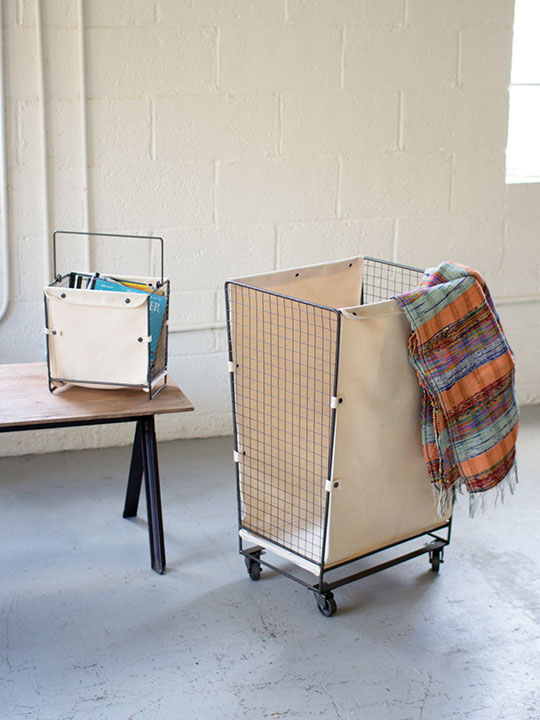 Canvas Wire Rolling Basket Hamper