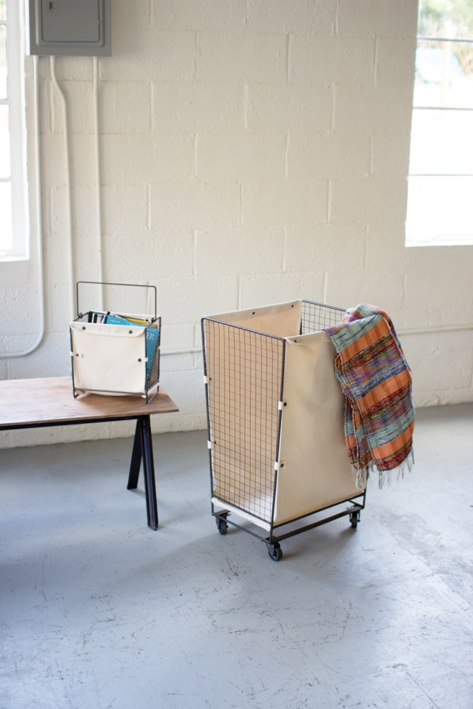 Canvas Wire Rolling Basket