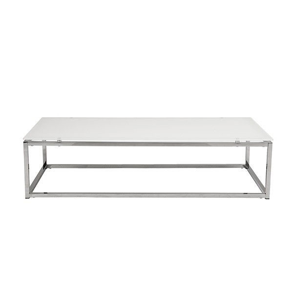Chrome White Glass Coffee Table