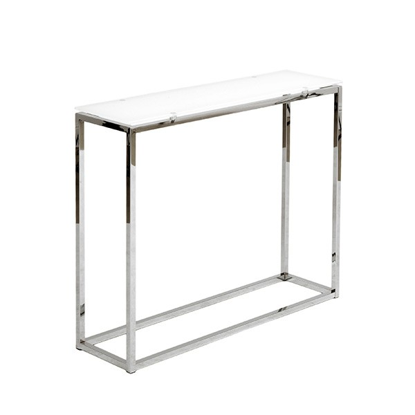 Chrome White Glass Console Table 2
