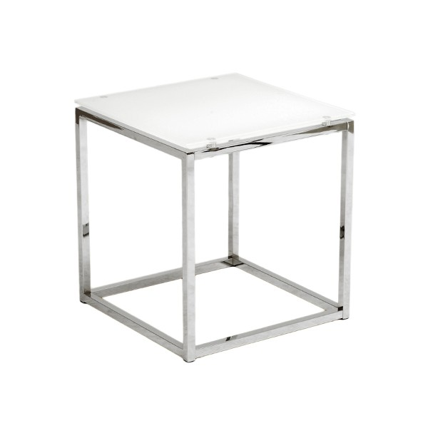 Chrome White Glass Side Table 2