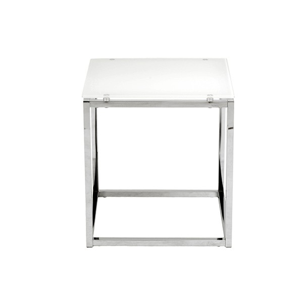 Chrome White Glass Side Table