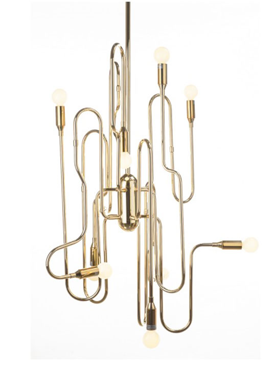 Gold Trombone Chandelier