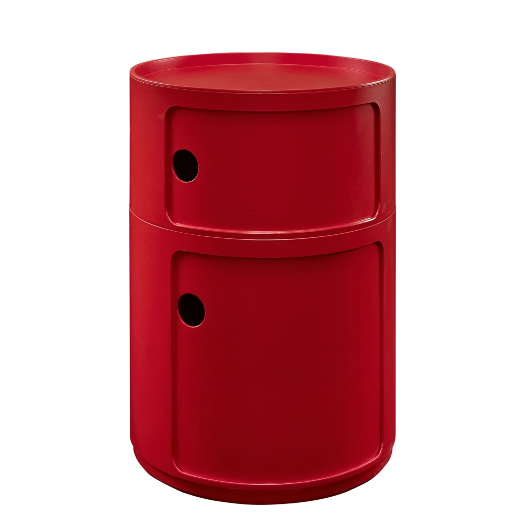 Red Circular 2 Storage Table 1