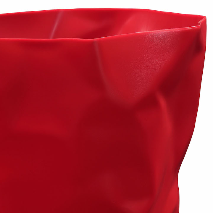 Red Paper Sculpt Trash Bin