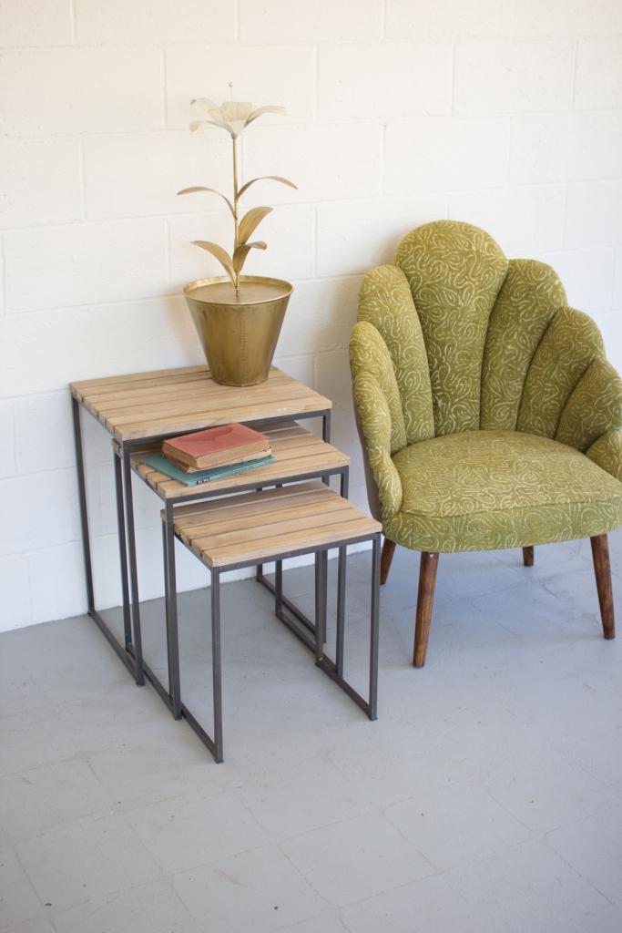 Slat Wood Nesting Table Set
