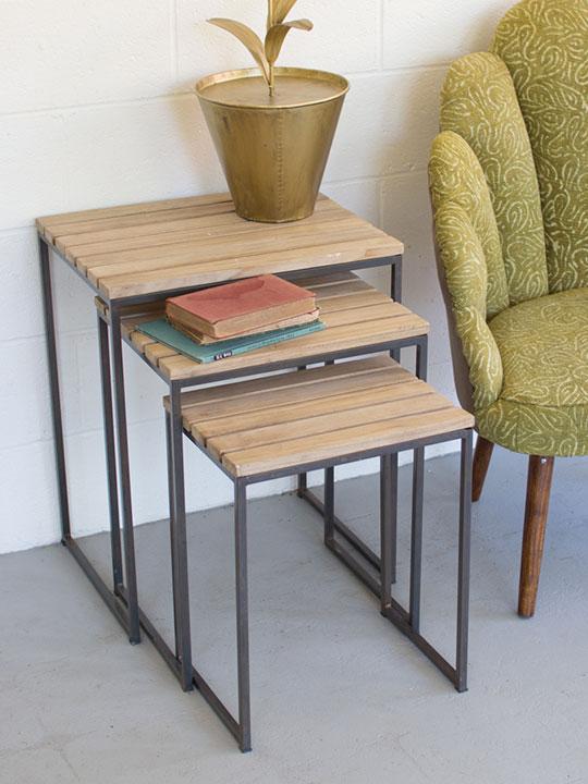 Slat Wood Nesting Table Set1