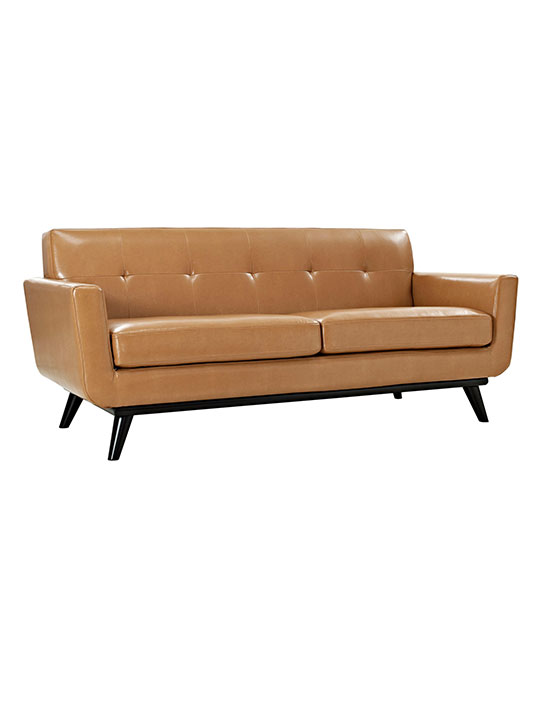 Tan Pop Art Leather Loveseat