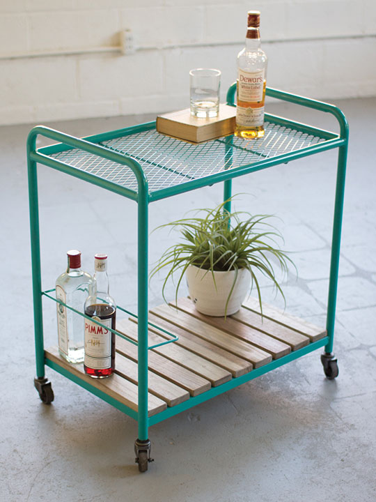 Turquoise Rolling Bar Cart