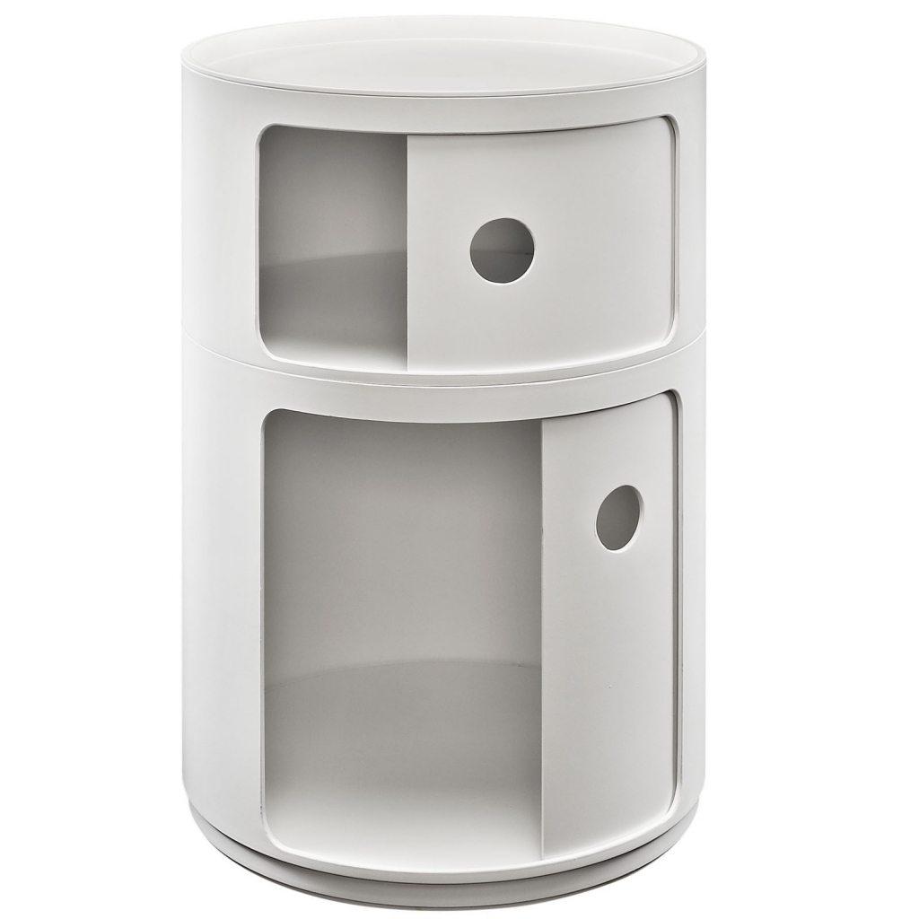 White Circular 2 Storage Table 2