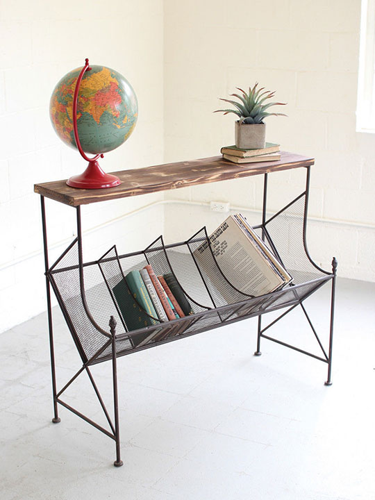 Wire Wood Book Console Table