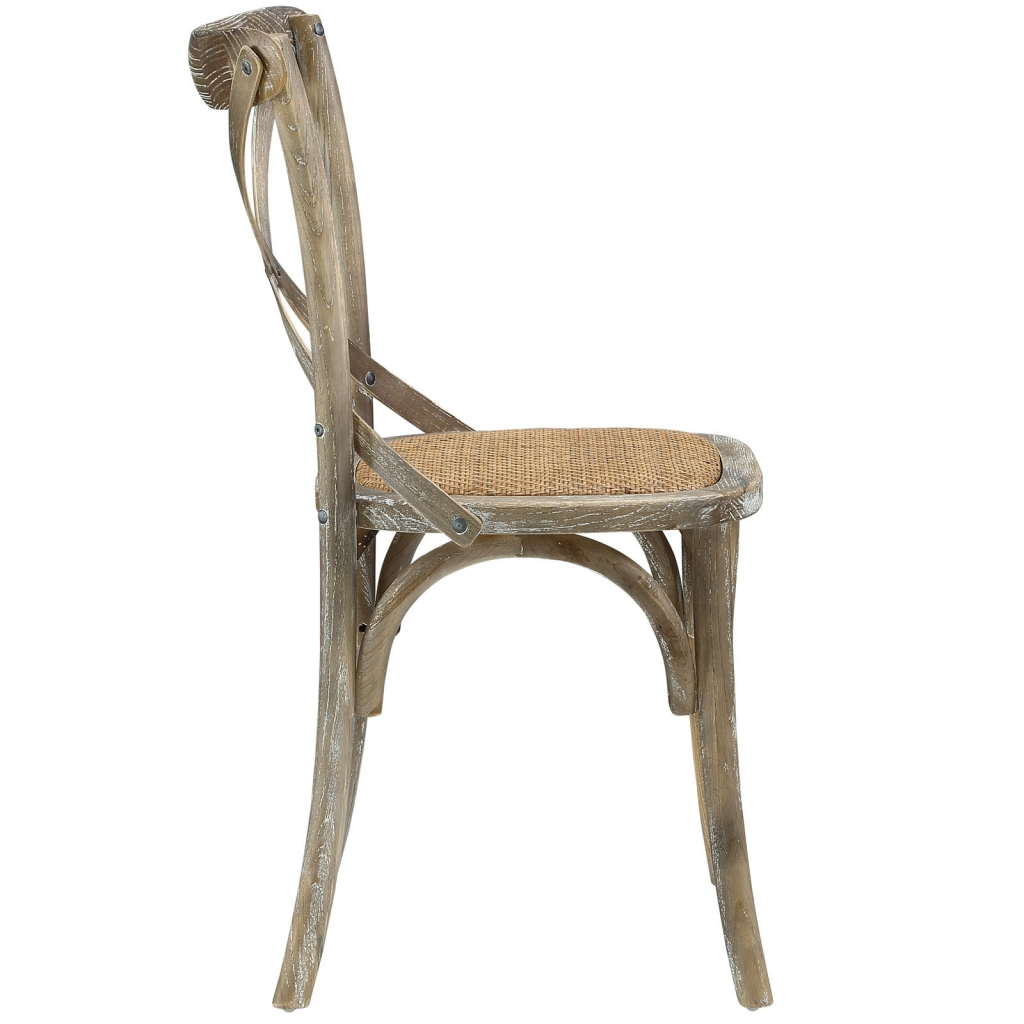 X Distressed Gray Wood Chair 2