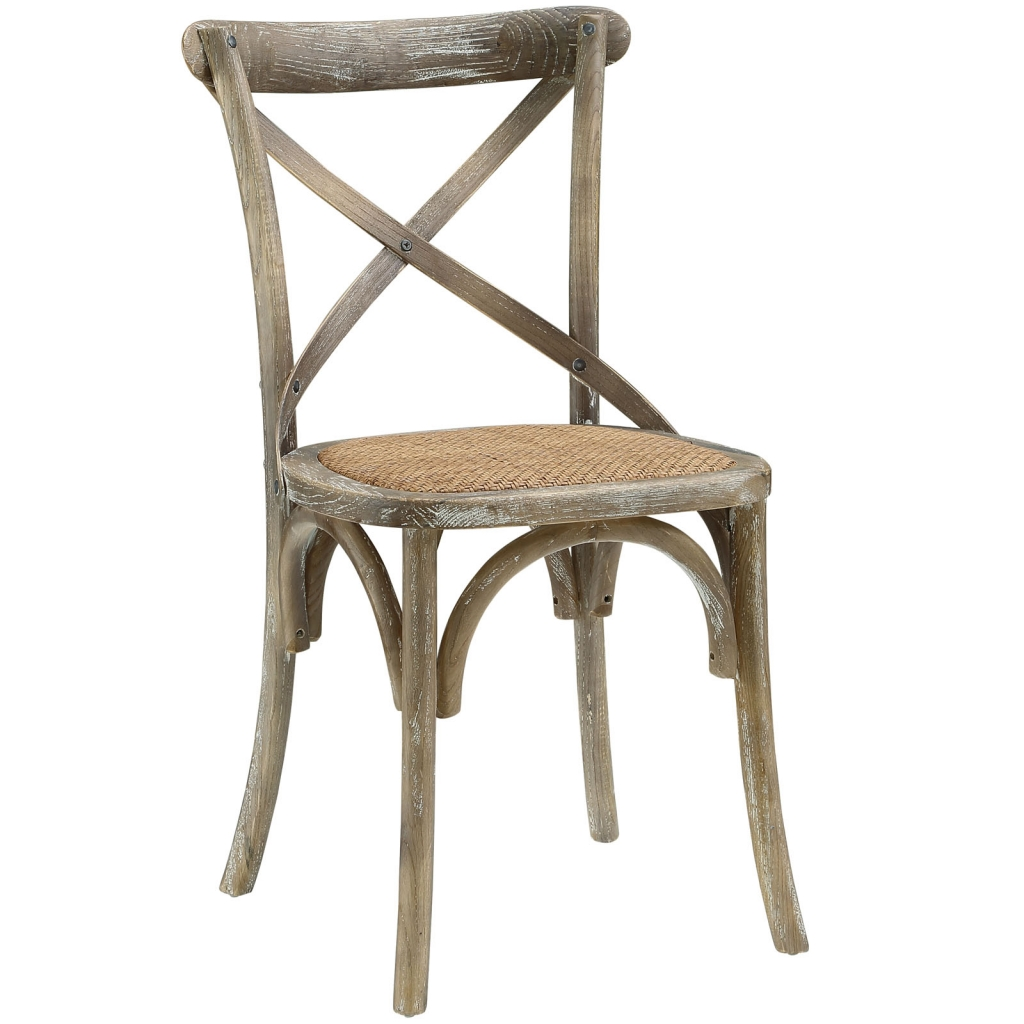 X Distressed Gray Wood Chair 3