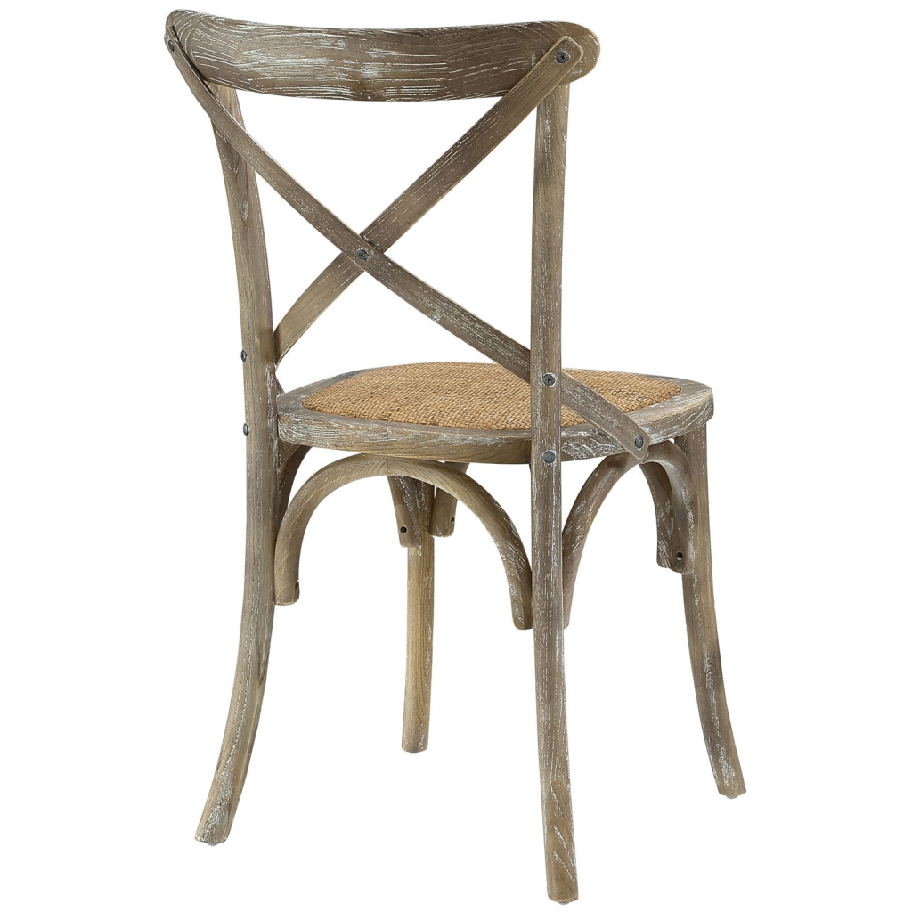 X Distressed Gray Wood Chair