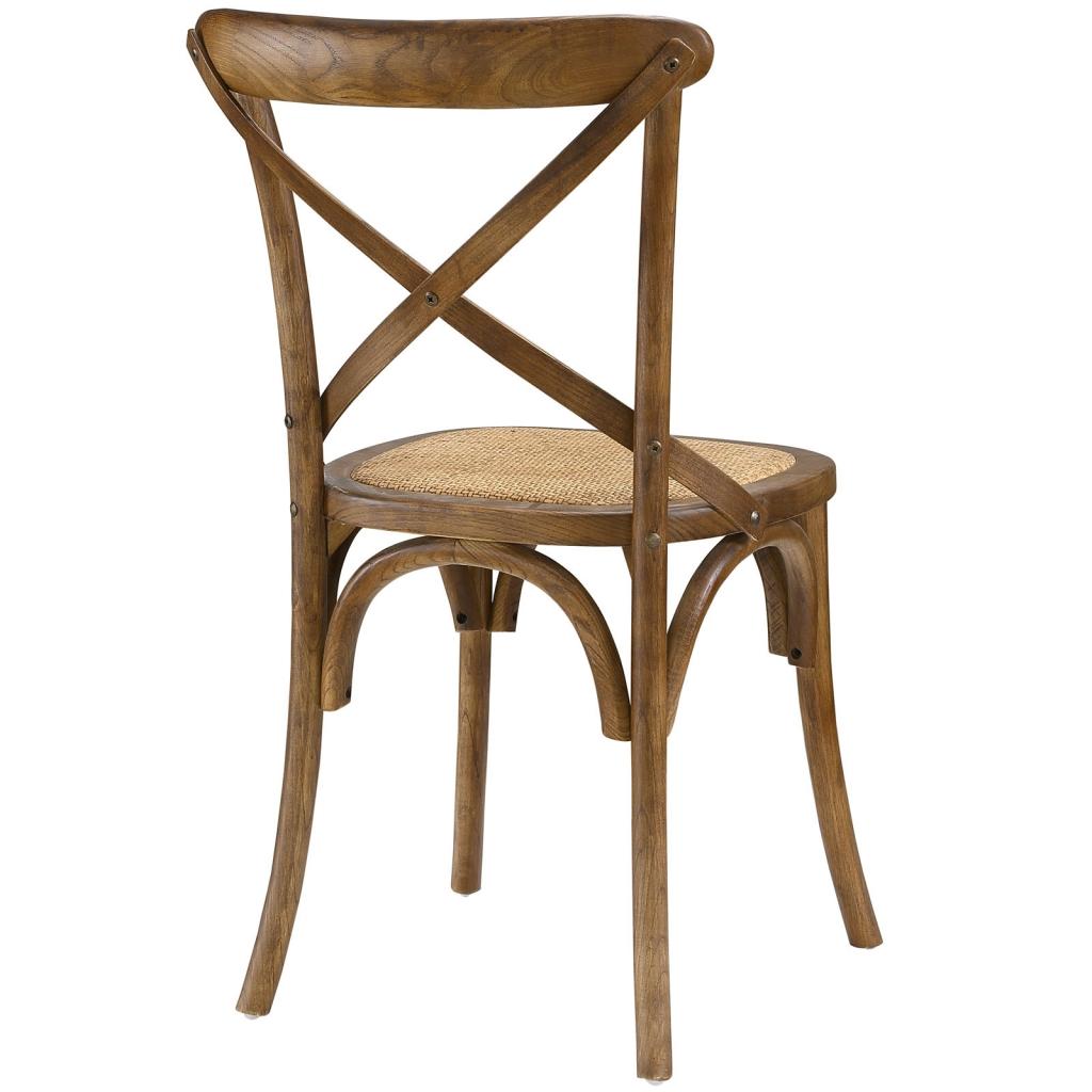 X Walnut Wood Chair