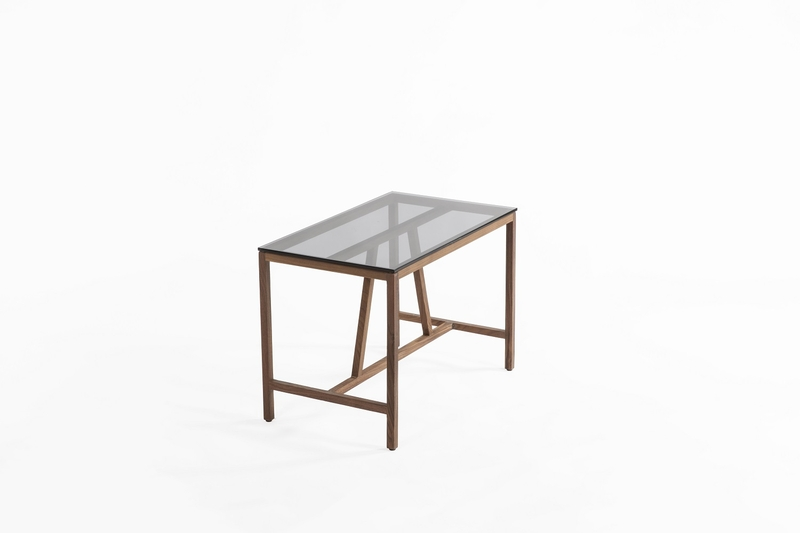 Azzaria Wood Glass Side Table