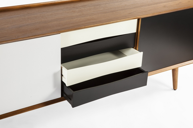 Black white mid century Console Table