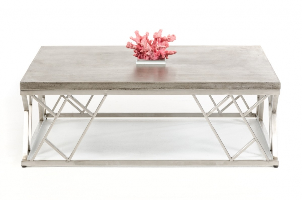 Concrete Chrome Large Coffee Table