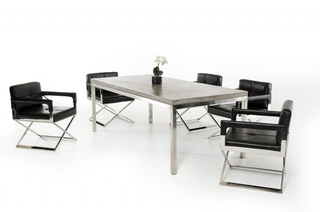 Concrete Chrome Rectangular Dining Table 2