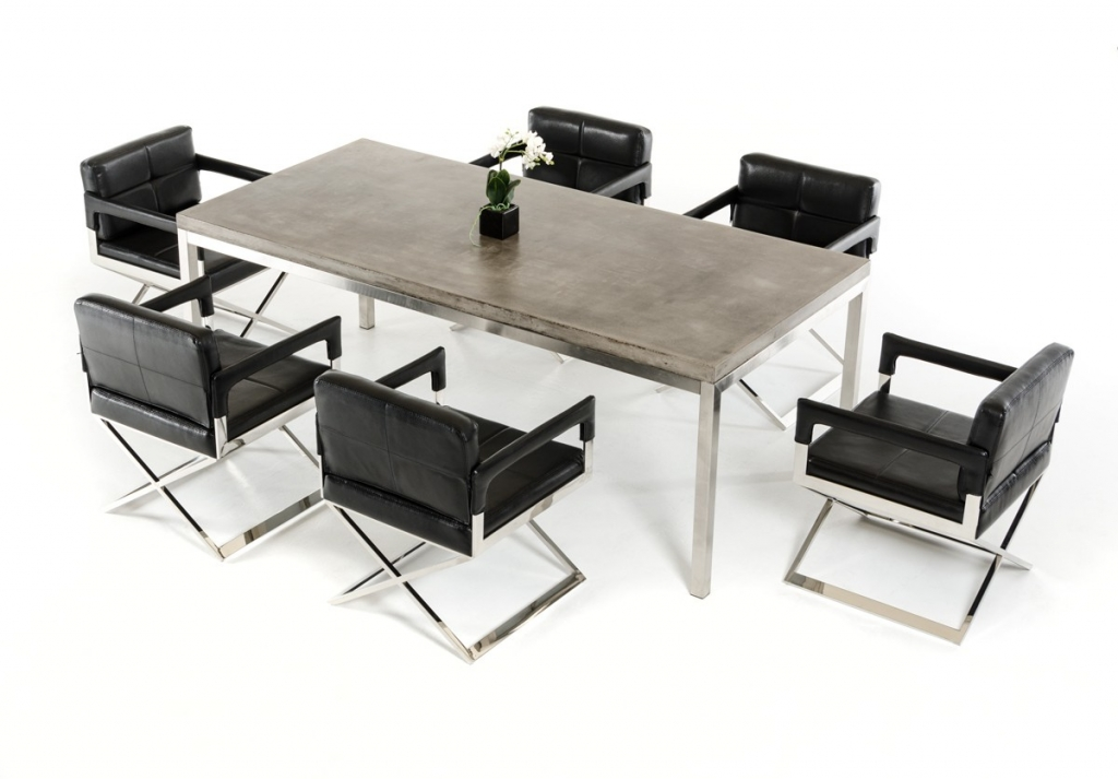 Concrete Chrome Rectangular Dining Table 3