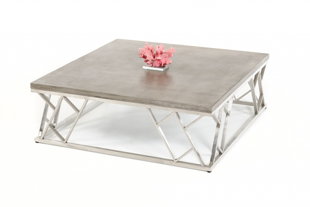 Concrete Chrome Square Modern Coffee Table