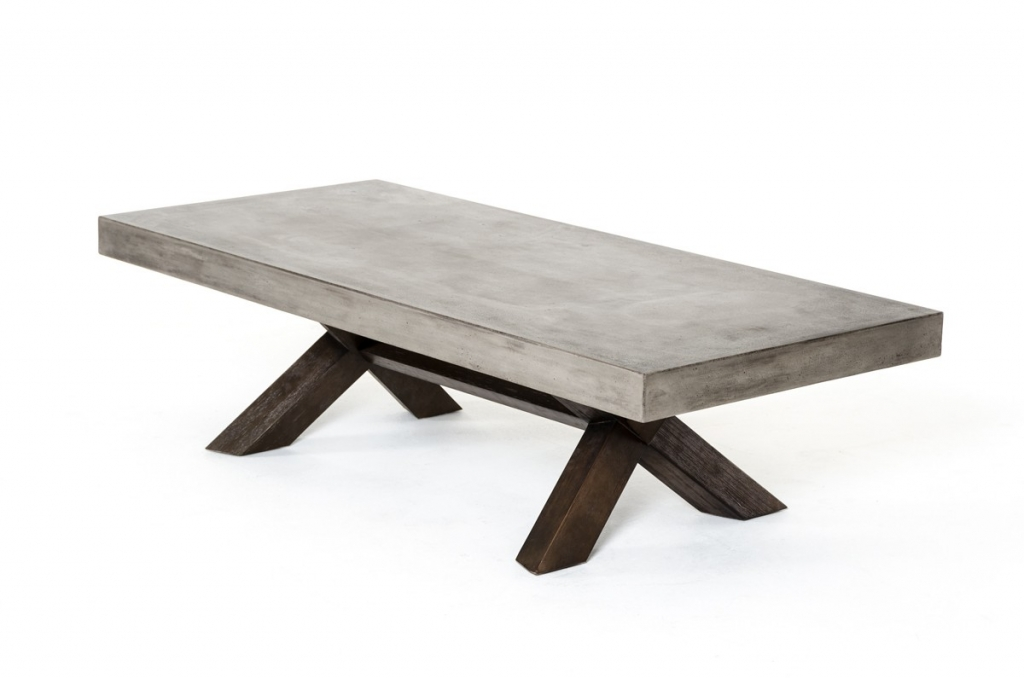 Concrete Wood Rectangular Coffee Table