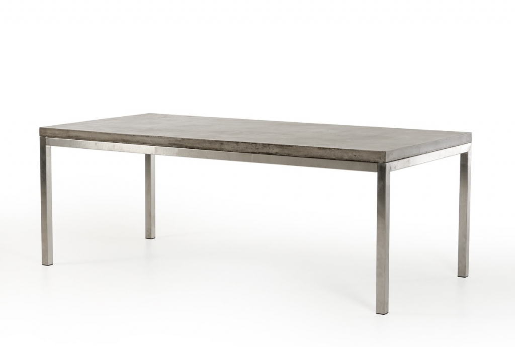 Modern Concrete Chrome Rectangular Dining Table