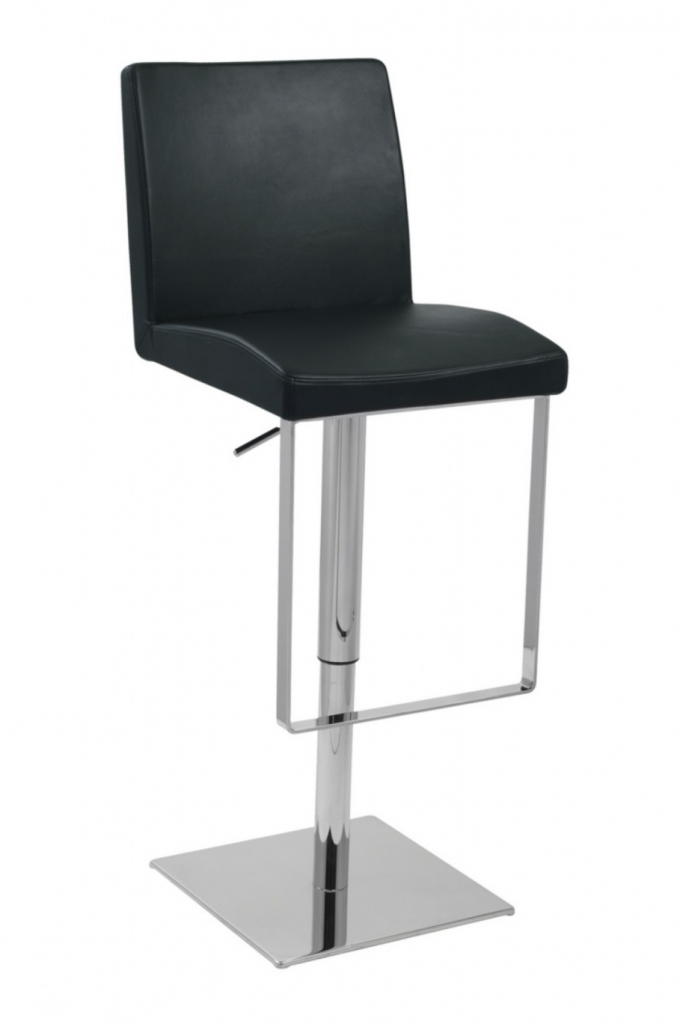 Parker Black Leather Barstool