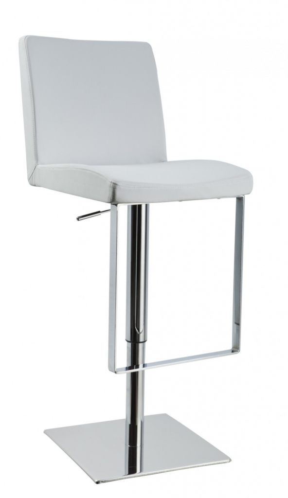 Parker White Leather Barstool