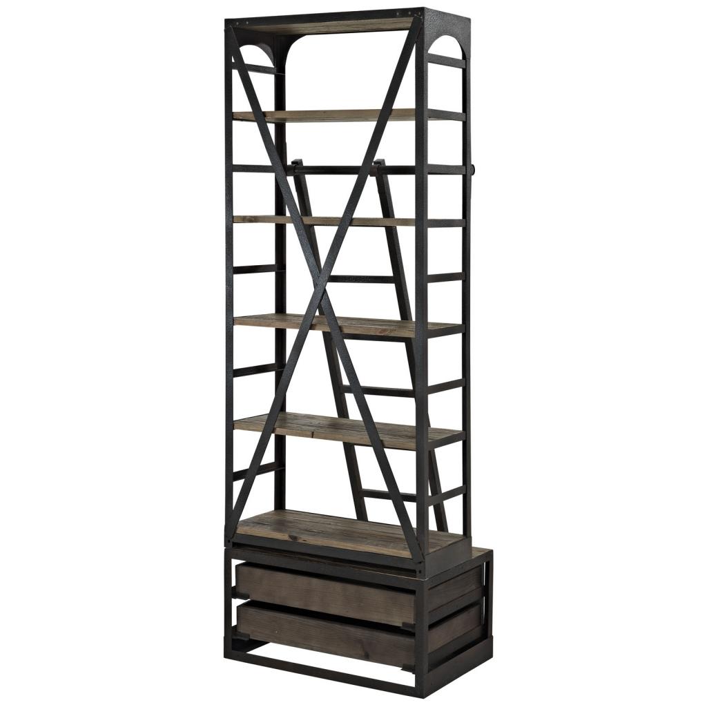 Reclaimed Wood Ladder Shelving Unit