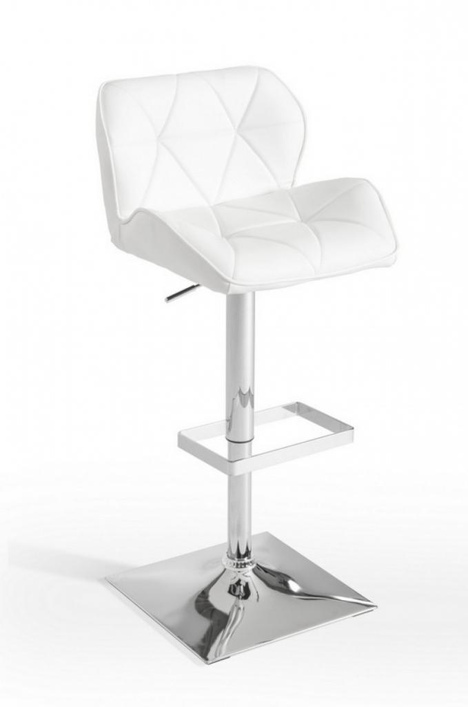 Trellis Pattern Barstool White 2