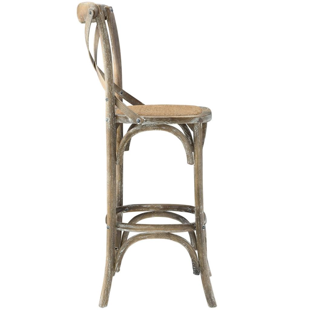 X Distressed Grey Wood Barstool 2