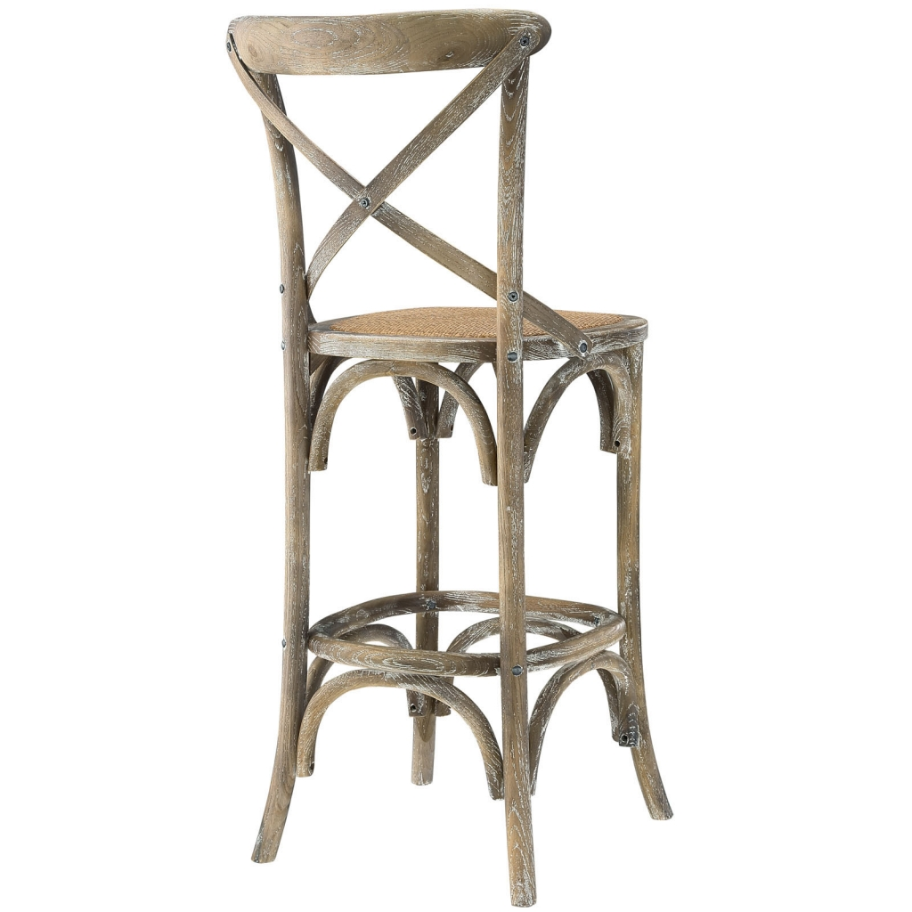 X Distressed Grey Wood Barstool