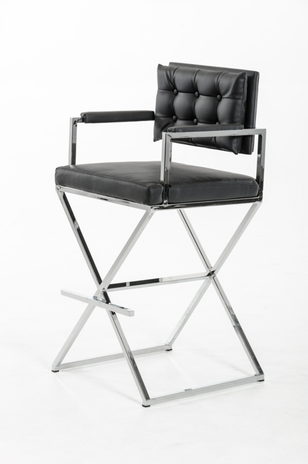 black leather directors barstool