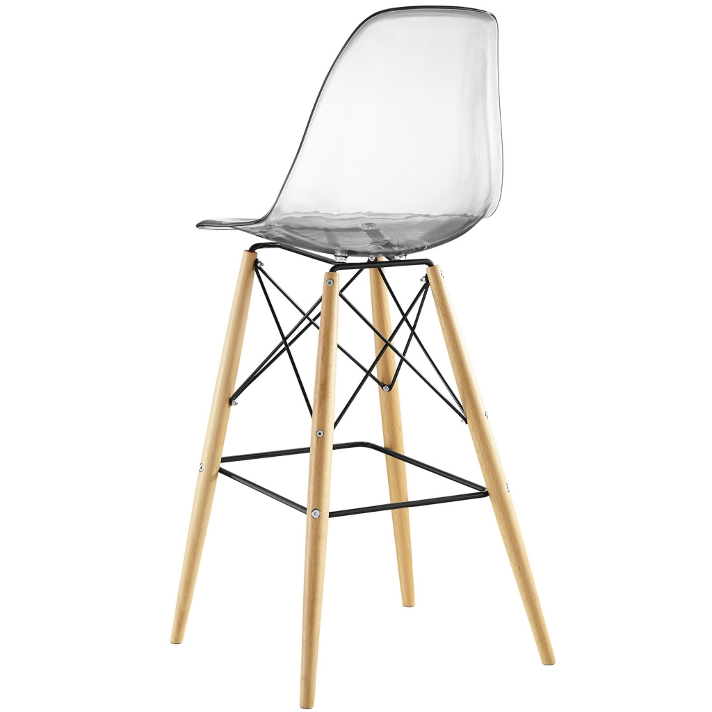 Ceremony Wood Clear Molded Plastic Barstool Eames Dsw Style Mid Century Modern 2