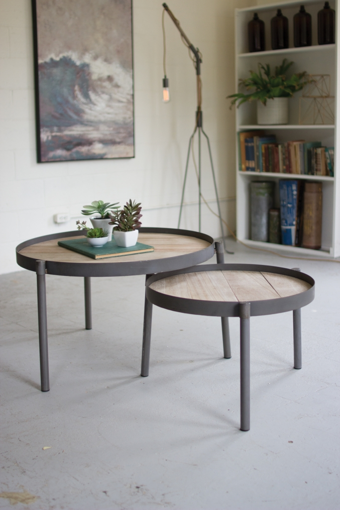 Wood Iron Nesting Table Set Modern Furniture Brickell