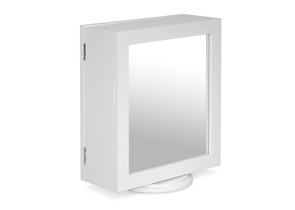 White Table Mirrored Jewelry Box Double Sided 6