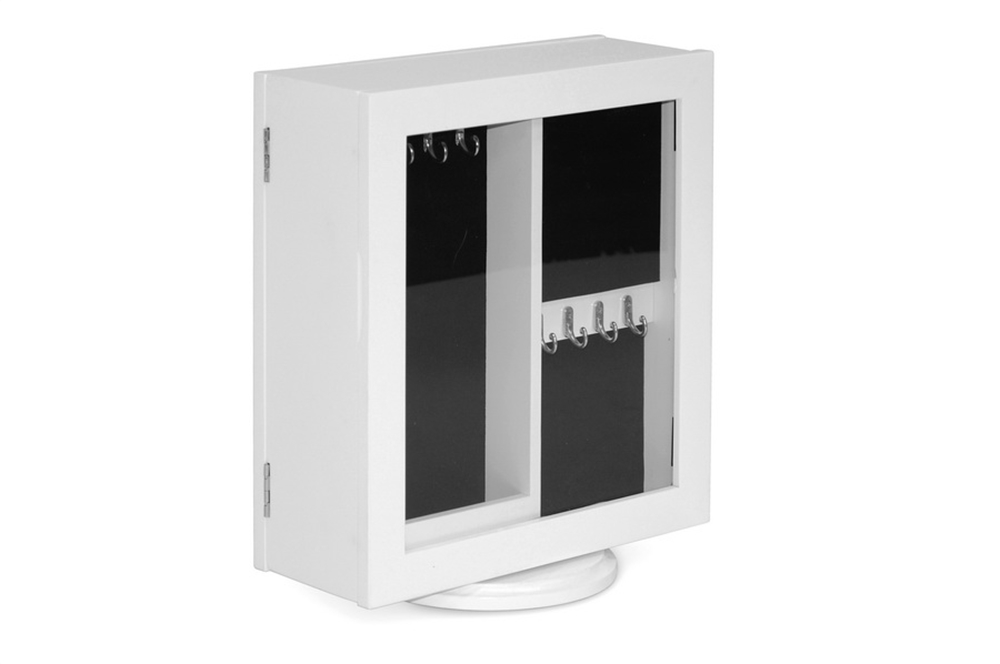 White Table Mirrored Jewelry Box Double Sided 7