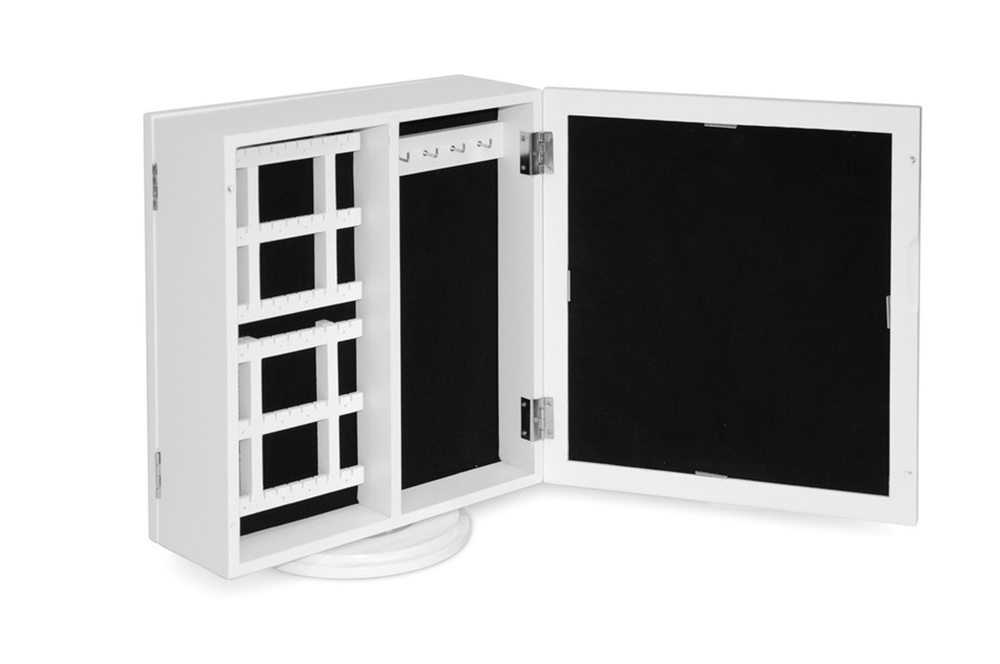 White Table Mirrored Jewelry Box Double Sided