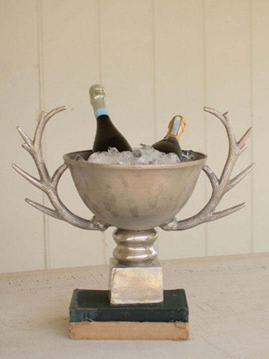 Antler Silver Ice Bucket