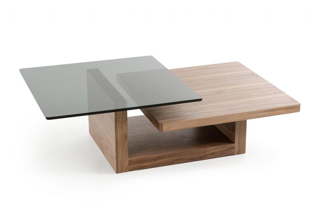 Glass Wood Balance Coffee Table