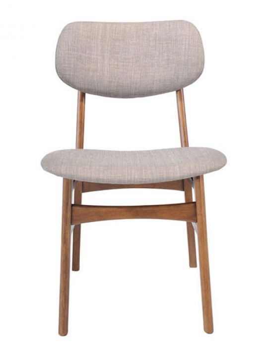 gray fabric wood chair