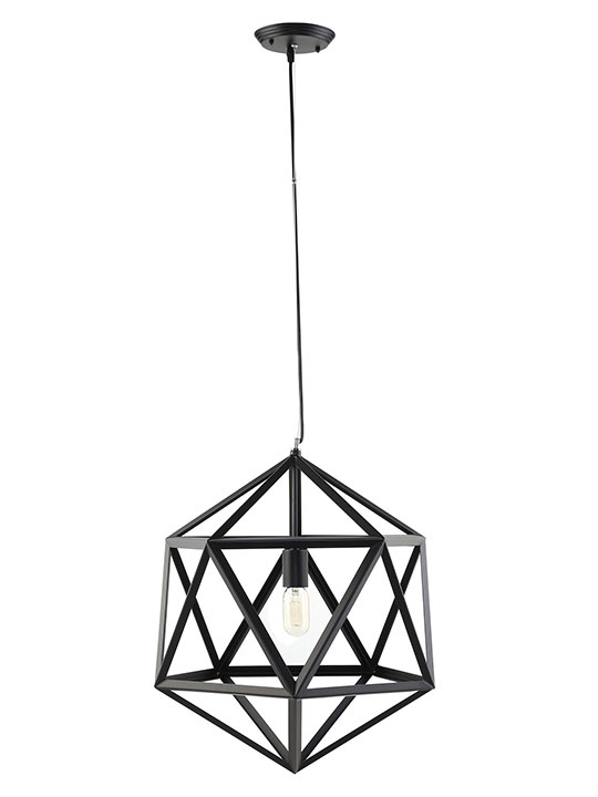 Hexagon Black Metal Chandelier