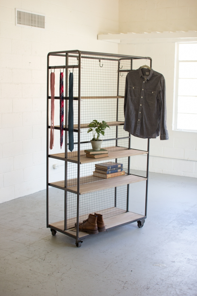 Wood Metal Rolling Storage Rack1