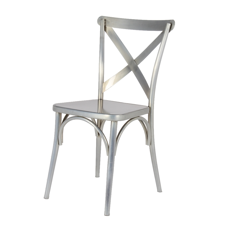 silver metal x chair